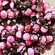 Бусины из натурального камня агата цвета фуксия с черным формы граненый шар диаметром 14 мм