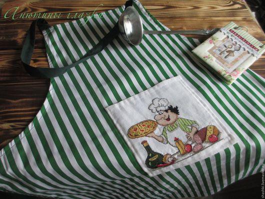 """Кухня ручной работы. Ярмарка Мастеров - ручная работа. Купить Фартук """"Печем пиццу"""". Handmade. Комбинированный, кухня, Вышивка крестом"""