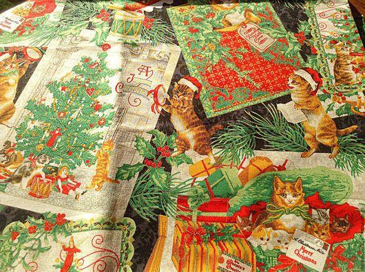 Шитье ручной работы. Ярмарка Мастеров - ручная работа. Купить Новогодняя ткань для пэчворка Котэ металлик на черном. Handmade. Пэчворк
