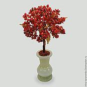 Цветы и флористика ручной работы. Ярмарка Мастеров - ручная работа Дерево здоровья из красного коралла в вазочке из оникса. Handmade.