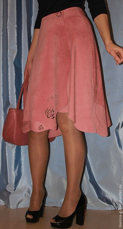 Skirts handmade. Livemaster - handmade. Buy Suede skirt 'Tenderness' color tea rose.Cream, leather skirt, skirt suede