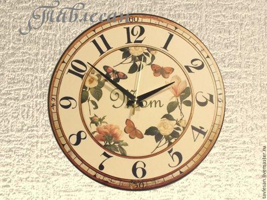 """Часы для дома ручной работы. Ярмарка Мастеров - ручная работа. Купить Часы настенные """"Цветы и бабочки. Любимой маме"""" круглые. Handmade."""
