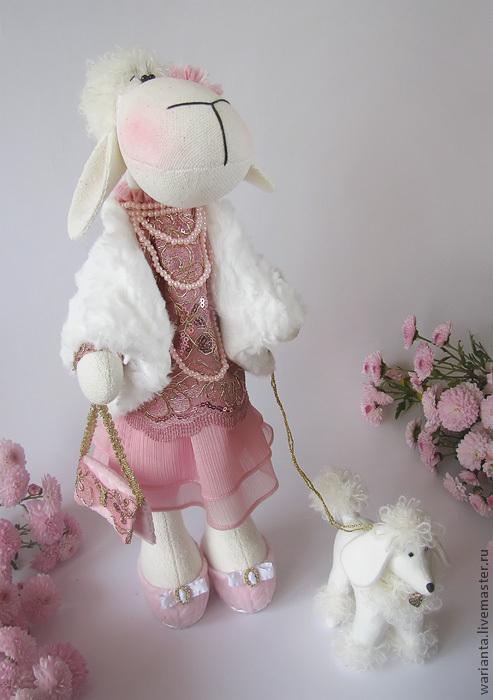 Игрушки животные, ручной работы. Ярмарка Мастеров - ручная работа. Купить Овечка. Игрушка текстильная. Дама с собачкой.. Handmade.