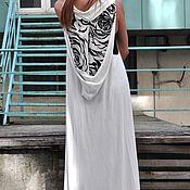 Одежда handmade. Livemaster - original item Satin, long hooded vest - VE0017TR. Handmade.