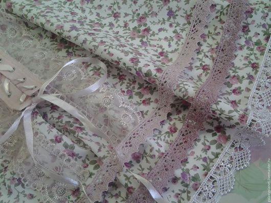 Шитье ручной работы. Ярмарка Мастеров - ручная работа. Купить Поплин-шебби с маленькими розовыми розочками.. Handmade. Бледно-розовый