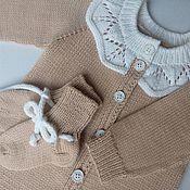 Работы для детей, ручной работы. Ярмарка Мастеров - ручная работа На заказ: Вязаный комбинезон с кружевом. Handmade.