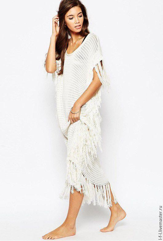 Платья ручной работы. Ярмарка Мастеров - ручная работа. Купить Пляжное платье с бахрамой. Handmade. Белый, пляжное платье