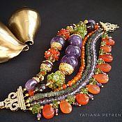 Украшения handmade. Livemaster - original item Bracelet with amethyst, carnelian and chrysolite