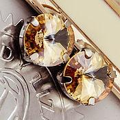 Материалы для творчества handmade. Livemaster - original item Premium crystals in Rivoli frame 12 mm Golden Shadow Golden Shadow. Handmade.