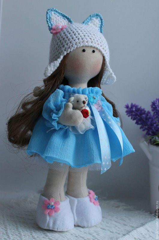 Куклы тыквоголовки ручной работы. Ярмарка Мастеров - ручная работа. Купить Интерьерная куколка-малышка. Handmade. Голубой, кукла, хендмейд