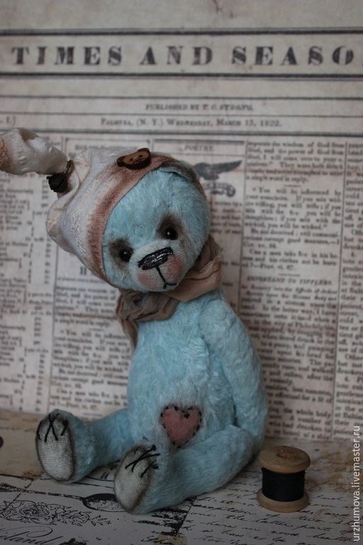 """Мишки Тедди ручной работы. Ярмарка Мастеров - ручная работа. Купить """"Сладких снов..."""". Handmade. Голубой, медведь тедди"""