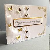 """Свадебный салон ручной работы. Ярмарка Мастеров - ручная работа Приглашение на свадьбу """"Золотые бабочки"""". Handmade."""