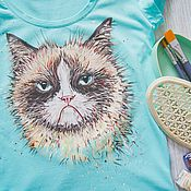Одежда ручной работы. Ярмарка Мастеров - ручная работа футболка Grumpy Cat. Handmade.