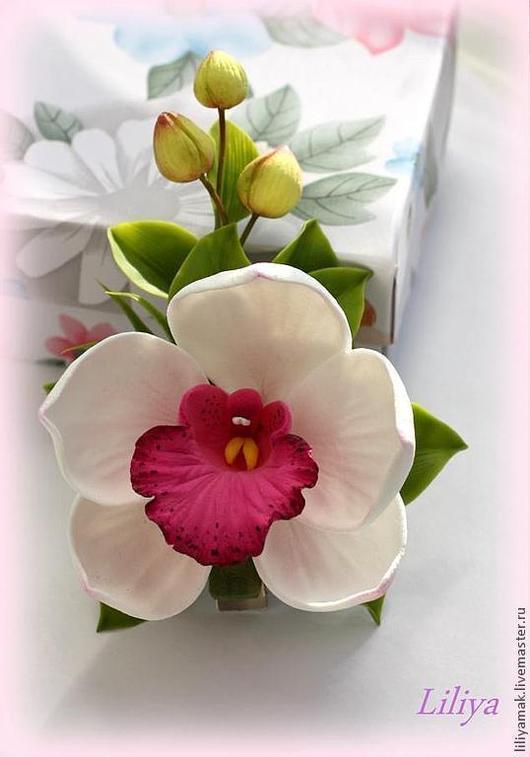 Заколки ручной работы. Ярмарка Мастеров - ручная работа. Купить белая орхидея с бутонами на зажиме. Handmade. Орхидея, украшение в волосы