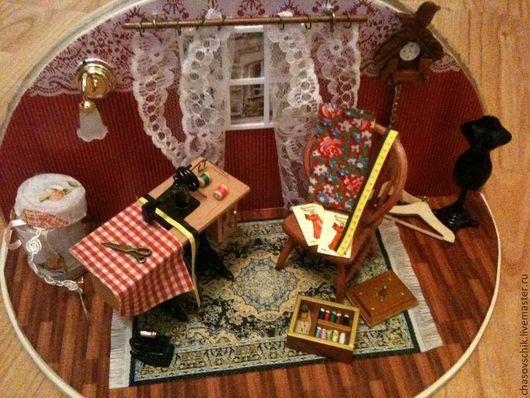 """Кукольный дом ручной работы. Ярмарка Мастеров - ручная работа. Купить Румбокс """"Швейная мастерская"""". Handmade. Бордовый, швейная мастерская"""