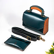 handmade. Livemaster - original item Amely-Green leather women`s handbag, bag with wood. Handmade.
