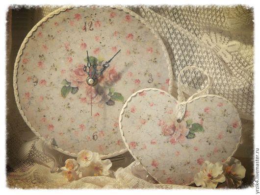 """Часы для дома ручной работы. Ярмарка Мастеров - ручная работа. Купить Набор  часы и подвеска """"Розали"""". Handmade. Бежевый, винтаж"""
