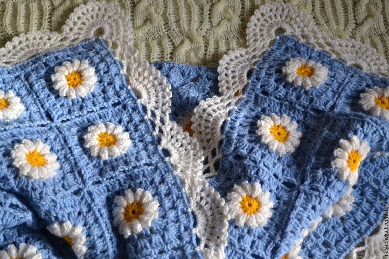 Вязание цветка крючком для пледа
