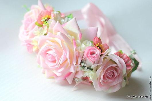 """Диадемы, обручи ручной работы. Ярмарка Мастеров - ручная работа. Купить Ободок с цветами """"Яркий акцент"""". Handmade. Розовый"""