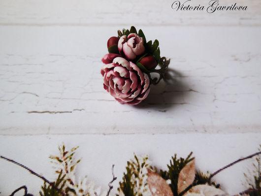 Кольца ручной работы. Ярмарка Мастеров - ручная работа. Купить Кольцо с пионом. Handmade. Комбинированный, цветы, украшения с цветами