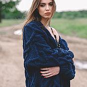 Одежда handmade. Livemaster - original item cardigans: Women`s handmade oversize cardigan in blue. Handmade.