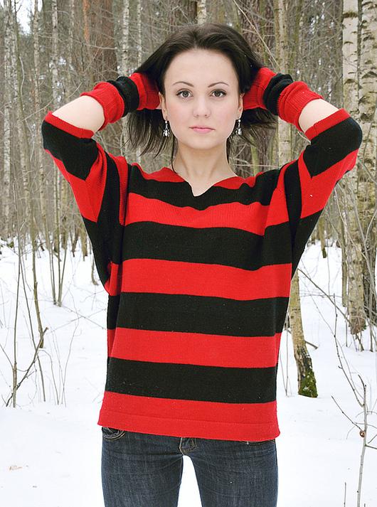 Кофты и свитера ручной работы. Ярмарка Мастеров - ручная работа. Купить Кофта красная в черную полоску женская вязаная. Handmade.