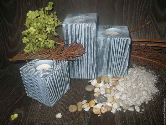 """Подсвечники ручной работы. Ярмарка Мастеров - ручная работа. Купить """"Серебро""""- Деревянные подсвечники. Handmade. Чёрно-белый, подарок мужчине"""