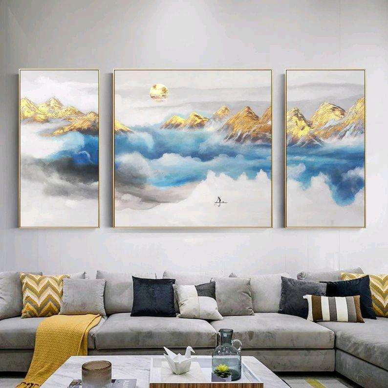 Современная картина маслом на стену Горная луна. Модульные картины, Картины, Москва,  Фото №1