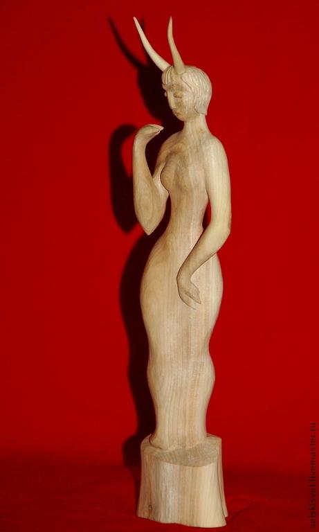 """Статуэтки ручной работы. Ярмарка Мастеров - ручная работа. Купить """"Devil Woman"""" (статуэтка из дерева). Handmade. Золотой, загадка"""