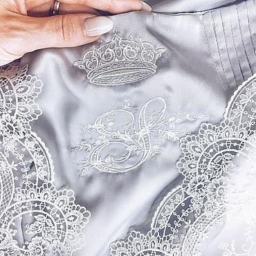 Свадебный салон ручной работы. Ярмарка Мастеров - ручная работа Свадебное постельное белье с кружевом и инициалами. Handmade.