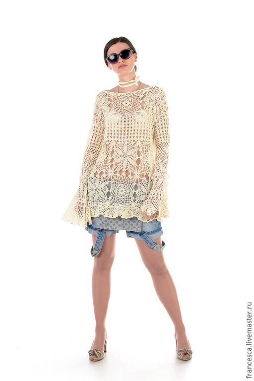 Туника шелковая вязаная крючком - настоящий Haute Couture! Авторская ручная работа. 100% итальянский шелк. Cashmere Francesca.