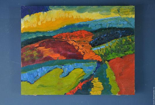 Пейзаж ручной работы. Ярмарка Мастеров - ручная работа. Купить 57х45 Горный ландшафт. Handmade. Комбинированный, горы, горный пейзаж
