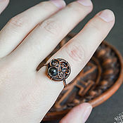 Rings manualidades. Livemaster - hecho a mano Copper ring with hematite - delicate ring with natural stone. Handmade.
