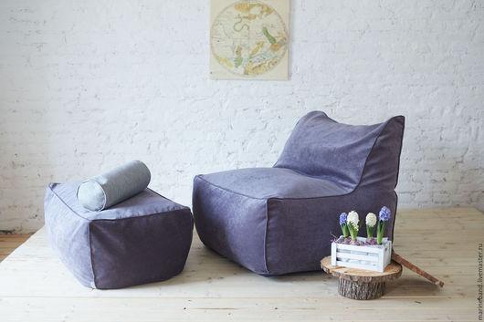 Мебель ручной работы. Ярмарка Мастеров - ручная работа. Купить Кресло с пуфом. Handmade. Синий, пуфик, уютный дом, ткань