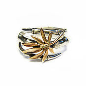 Украшения handmade. Livemaster - original item Rings: silver ring with gold leaf. Handmade.