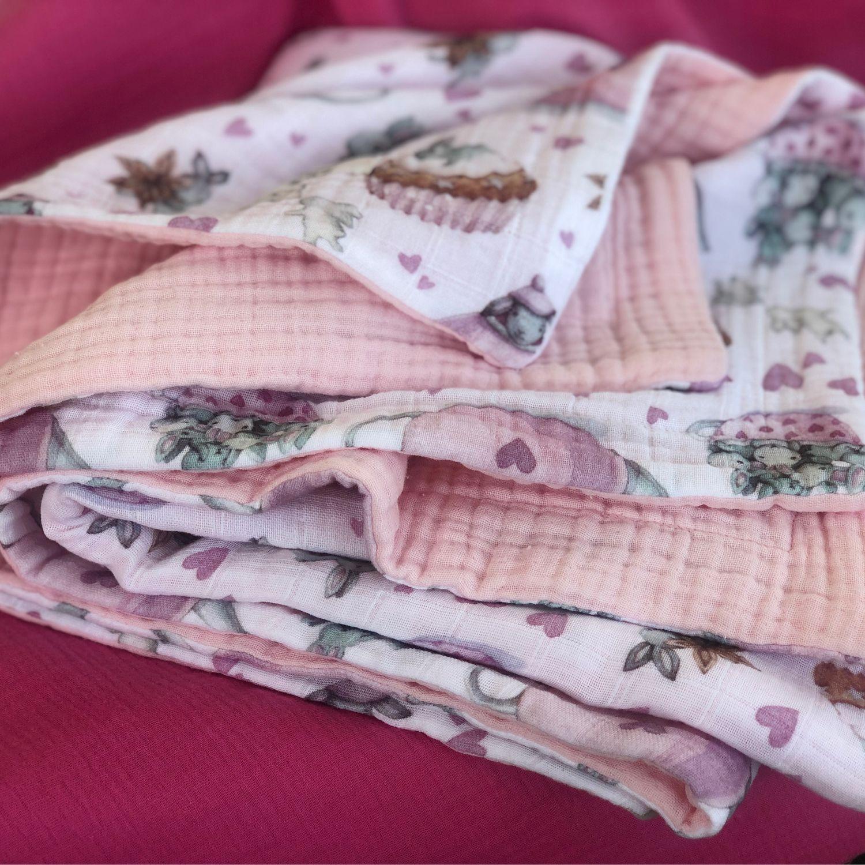 Одеяло муслиновое шестислойное 120*120, Одеяло для детей, Москва,  Фото №1
