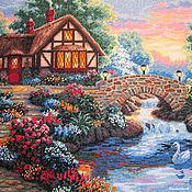 """Картины и панно ручной работы. Ярмарка Мастеров - ручная работа Вышивка крестом """"Сумеречный мост"""". Handmade."""
