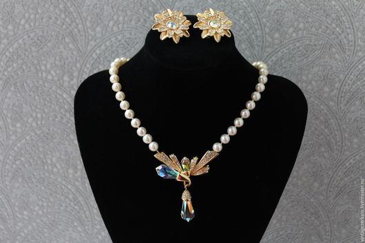Винтажные украшения. Ярмарка Мастеров - ручная работа. Купить 1980гг  Swarovski Истинный Кристалл винтажное ожерелье и клипсы. Handmade. винтаж