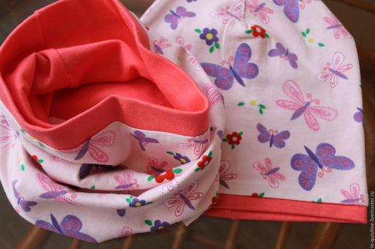 Шапки и шарфы ручной работы. Ярмарка Мастеров - ручная работа. Купить комплект для девочки,трикотажный комплект,шапка снуд,детский комплект. Handmade.