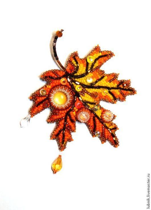 """Броши ручной работы. Ярмарка Мастеров - ручная работа. Купить Брошь """"Осень"""". Handmade. Оранжевый, брошь, капли дождя, бисер"""