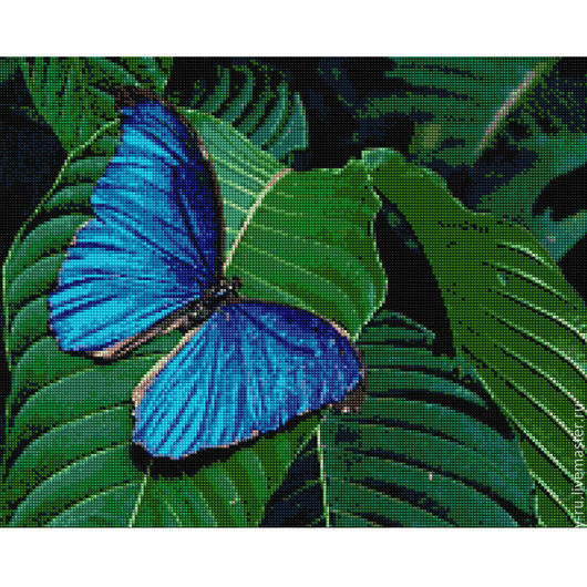"""Животные ручной работы. Ярмарка Мастеров - ручная работа. Купить Алмазная мозаика (набор) """"Синяя бабочка на листьях"""". Handmade."""