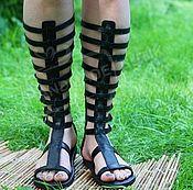 Обувь ручной работы handmade. Livemaster - original item Copy of Greek Sandals lace-up leather and Python Black. Handmade.