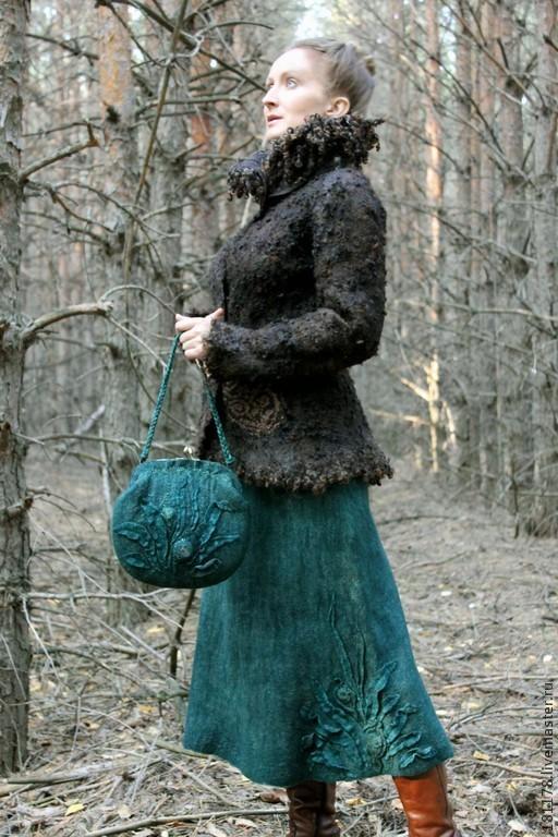 """Юбки ручной работы. Ярмарка Мастеров - ручная работа. Купить Теплая юбка и сумка """"Хвоя"""". Handmade. Тёмно-зелёный"""
