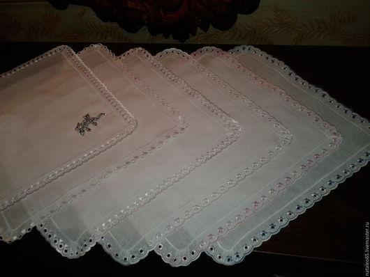 Носовые платочки ручной работы. Ярмарка Мастеров - ручная работа. Купить Носовые платочки белые с кружевом. Handmade. Белый, подарок