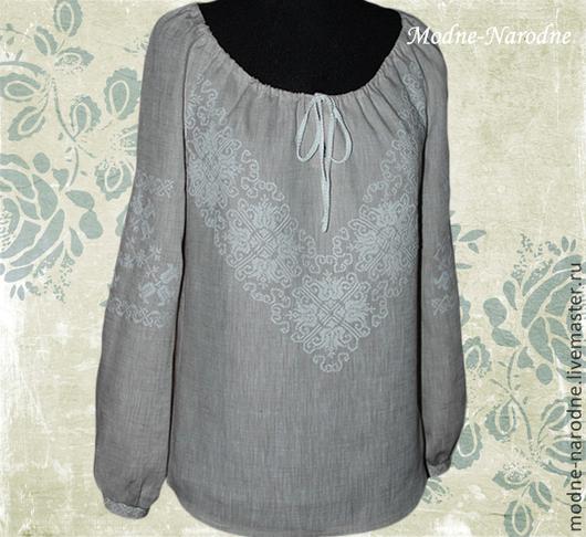 Льняная блуза с ручной вышивкой Дзвинка 2. \r\nМодная одежда с ручной вышивкой. \r\nТворческое ателье Modne-Narodne.