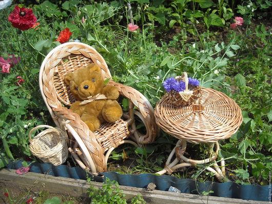 Коллекционные куклы ручной работы. Ярмарка Мастеров - ручная работа. Купить Кресло и столик для куколки плетеные из ивы. Handmade.