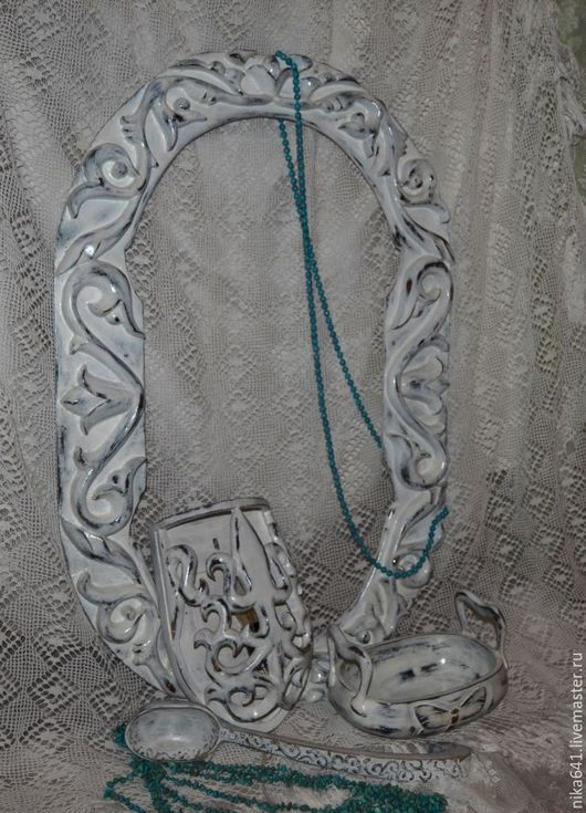 Зеркала ручной работы. Ярмарка Мастеров - ручная работа. Купить Набор резной. Handmade. Дерево, белый, зеркало, белый