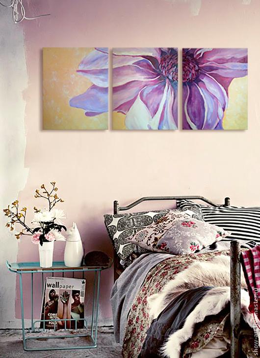 """Картины цветов ручной работы. Ярмарка Мастеров - ручная работа. Купить """"Гербера"""" Модульная картина. Handmade. Сиреневый, бутон, цветок"""