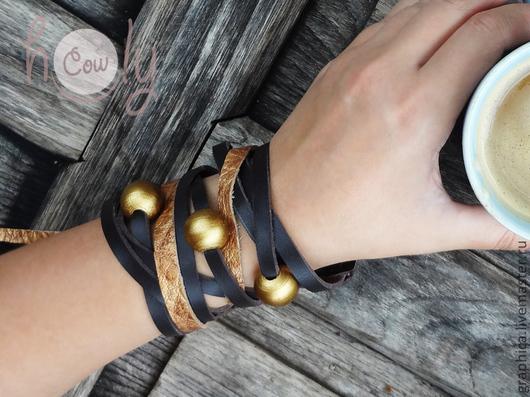 """Браслеты ручной работы. Ярмарка Мастеров - ручная работа. Купить Изящный кожаный браслет """"Brown Gold"""". Handmade. Браслет"""