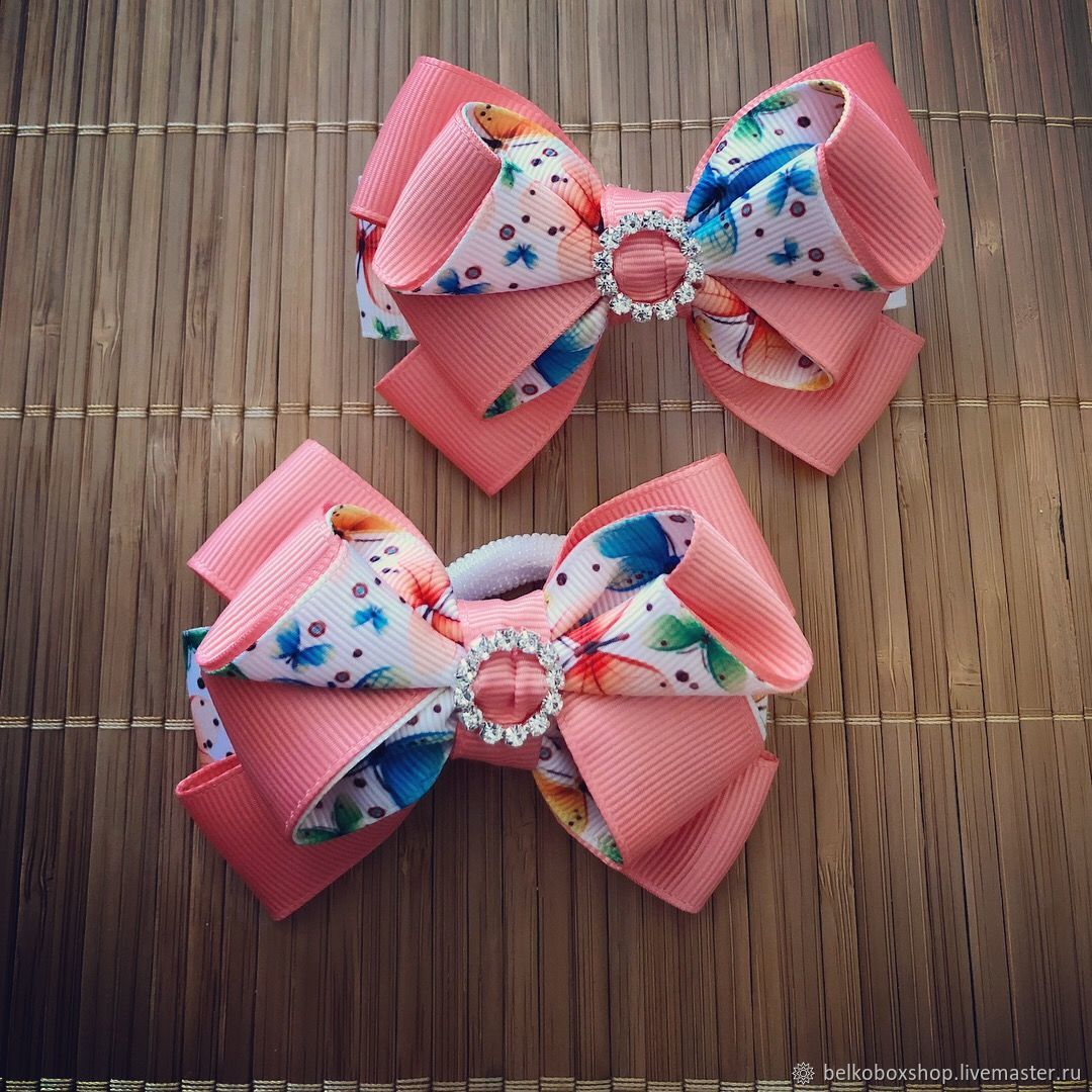 The bow of REP ribbons 'Butterfly pink', Hairpins, Moscow,  Фото №1